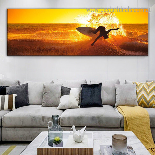Surfing Waves Seascape Nature Modern Framed Portraiture Pic Canvas Print for Room Wall Assortment