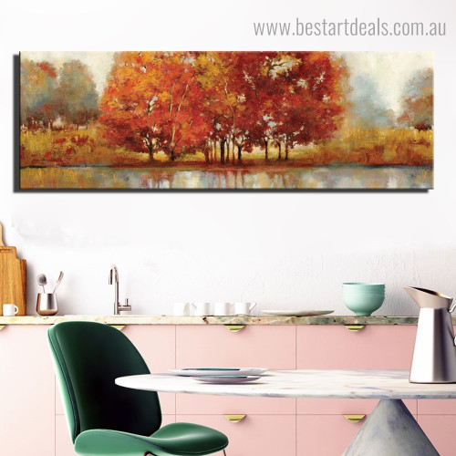 Red Leaves Tree Landscape Graffiti Framed Painting Portrait Canvas Print for Room Wall Decoration