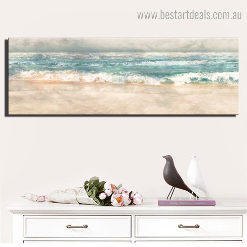 Sea Waves Abstract Nature Framed Artwork Image Canvas Print for Room Wall Ornament