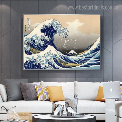 The Great Wave Katsushika Hokusai Reproduction Framed Artwork Photo Canvas Print for Room Wall Onlay