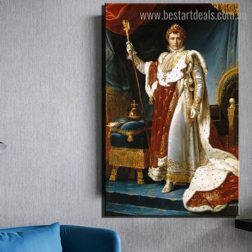Napoleon Francois Pascal Reproduction Framed Artwork Portrait Canvas Print for Wall Hanging Decor