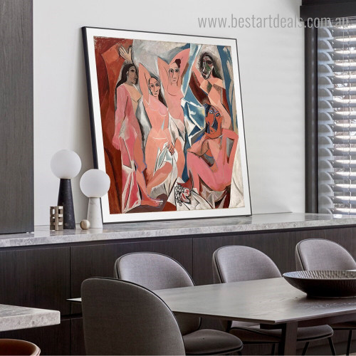 Les Demoiselles d'Avignon Pablo Picasso Reproduction Framed Painting Image Canvas Print for Room Wall Decoration