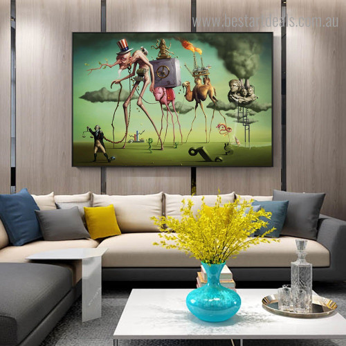 The American Dream Salvador Dali Reproduction Framed Painting Pic Canvas Print for Room Wall Disposition