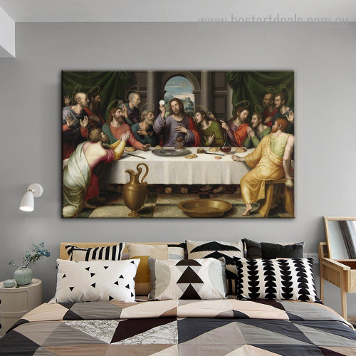 Supper Leonardo Da Vinci Reproduction Framed Portraiture Image Canvas Print for Room Wall Drape