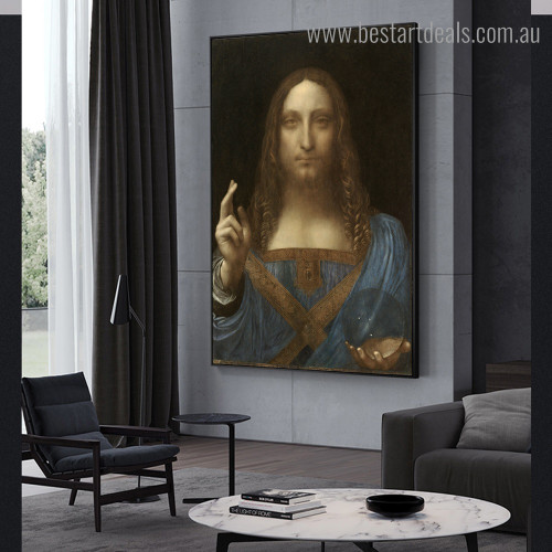 Christ Salvator Mundi Leonardo Da Vinci Religious Reproduction Framed Portraiture Photo Canvas Print for Room Wall Decoration