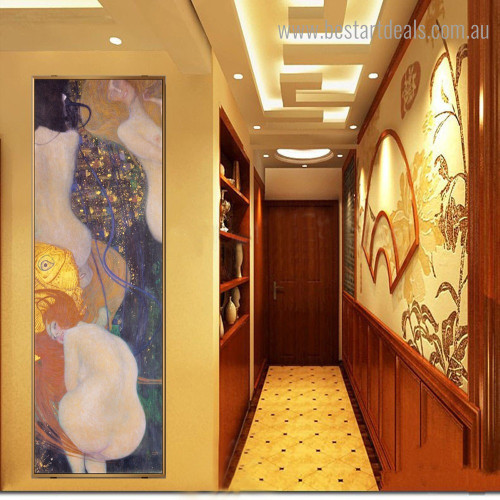 Goldfish Gustav Klimt Reproduction Framed Portraiture Image Canvas Print for Room Wall Decor