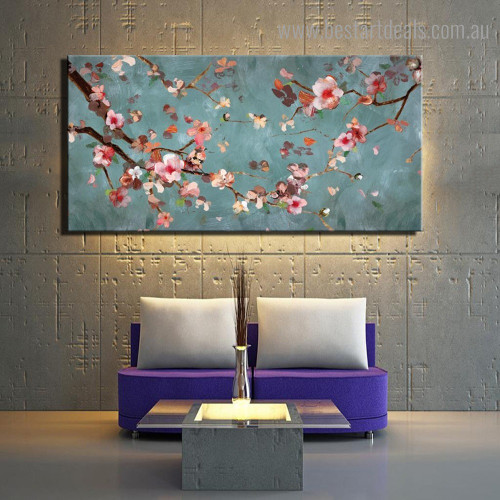 Plum Blooms Abstract Floral Framed Artwork Portrait Canvas Print for Room Wall Garnish