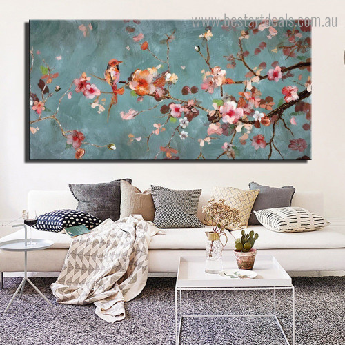 Plum Blossoms Abstract Floral Framed Artwork Picture Canvas Print for Room Wall Outfit