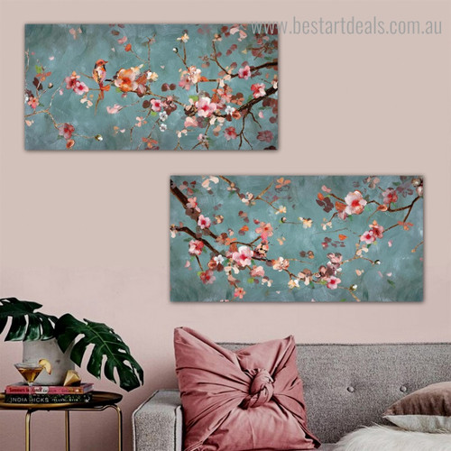 Plum Flowers Abstract Floral Framed Painting Image Canvas Print for Room Wall Getup