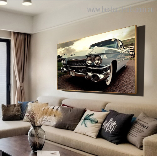 Classic Cadillac Abstract Vintage Framed Painting Photo Canvas Print for Room Wall Decor