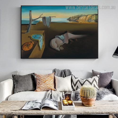 Persistence of Memory Salvador Dalí Reproduction Framed Painting Picture Canvas Print for Room Wall Decor