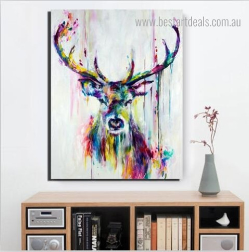 Dapple Deer Face Animal Abstract Watercolor Framed Artwork Photo Canvas Print for Room Wall Getup