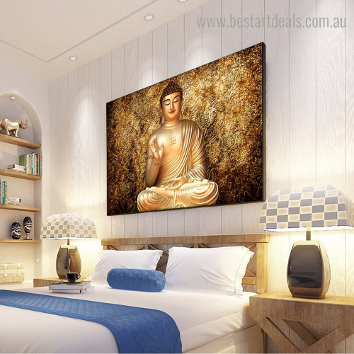 Golden Buddha Religious Modern Framed Artwork Photo Canvas Print for Room Wall Finery