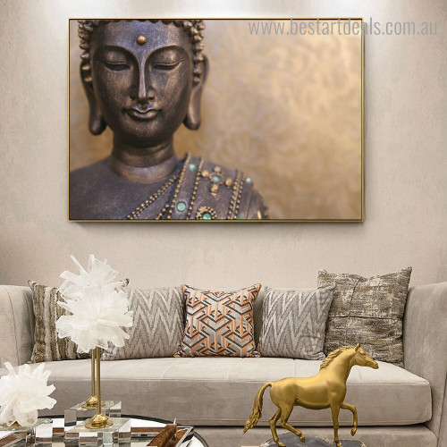 Black Buddha Religious Contemporary Framed Painting Pic Canvas Print for Room Wall Ornament