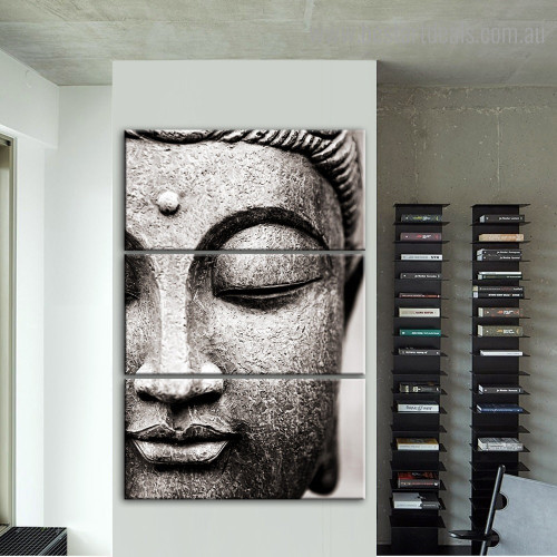 Buddha Face Statue Religious Contemporary Framed Painting Picture Canvas Print for Room Wall Decoration