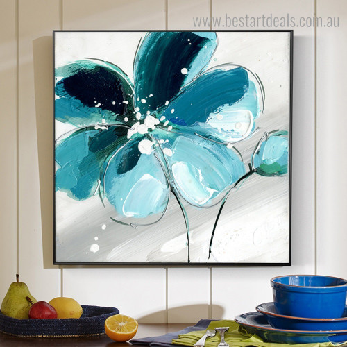 Cyan Shade Flower Abstract Floral Modern Framed Artwork Pic Canvas Print for Room Wall Outfit