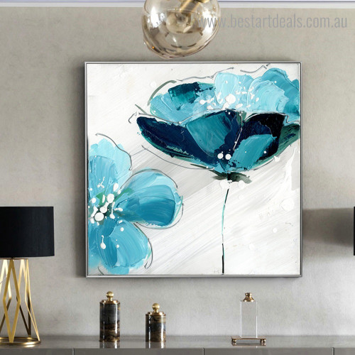 Cyan Poppy Abstract Botanical Modern Framed Artwork Picture Canvas Print for Room Wall Ornament