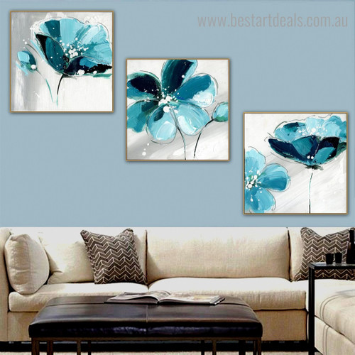 Turquoise Blossoms Abstract Botanical Contemporary Framed Painting Portrait Canvas Print for Wall Hanging Decor