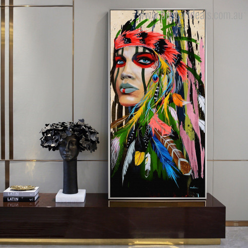 Colorful Tribal Abstract Figure Framed Painting Photo Canvas Print for Room Wall Ornament