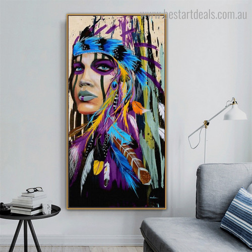 Dapple Aboriginal Girl Abstract Figure Framed Painting Photo Canvas Print for Room Wall Tracery
