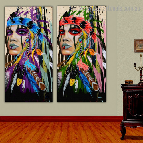 Motley Aboriginal Ladies Abstract Figure Framed Painting Pic Canvas Print for Room Wall Finery