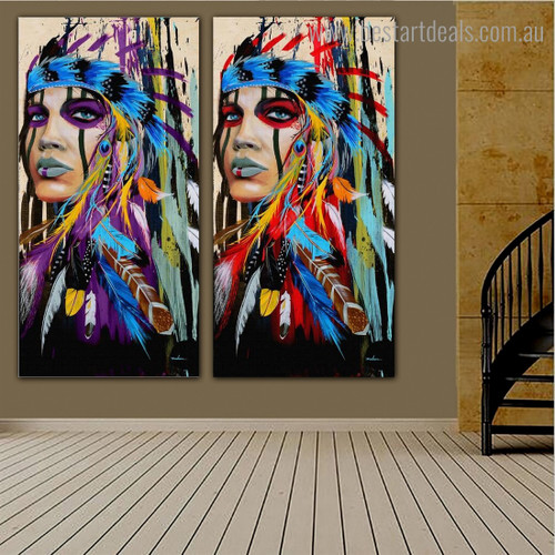 Chromatic Aboriginal Dames Abstract Figure Framed Painting Photo Canvas Print for Room Wall Garniture