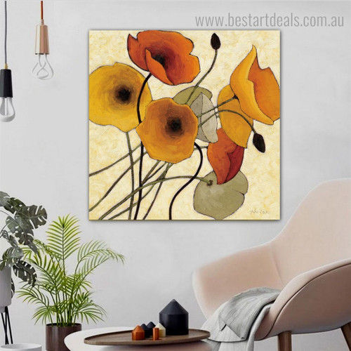 Varicoloured Flowers Abstract Floral Framed Artwork Photo Canvas Print for Room Wall Flourish