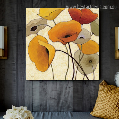 Calico Blooms Abstract Floral Framed Portraiture Picture Canvas Print for Room Wall Flourish