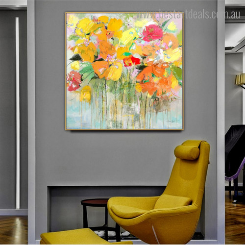 Multicoloured Blossoms Abstract Floral Framed Portraiture Image Canvas Print for Room Wall Adornment