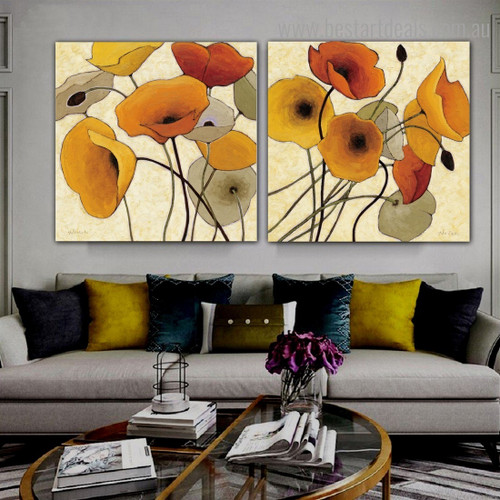 Dapple Flowerets Abstract Floral Framed Portraiture Photo Canvas Print for Room Wall Molding