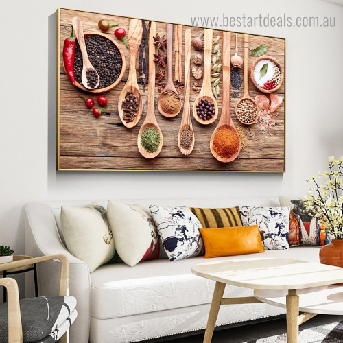 Spice and Spoon Food & Beverage Framed Painting Portrait Canvas Print for Room Wall Ornament