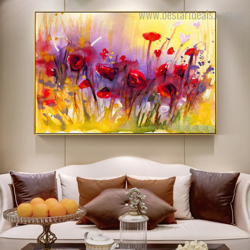 Motley Poppies Abstract Floral Modern Framed Painting Photo Canvas Print for Room Wall Assortment