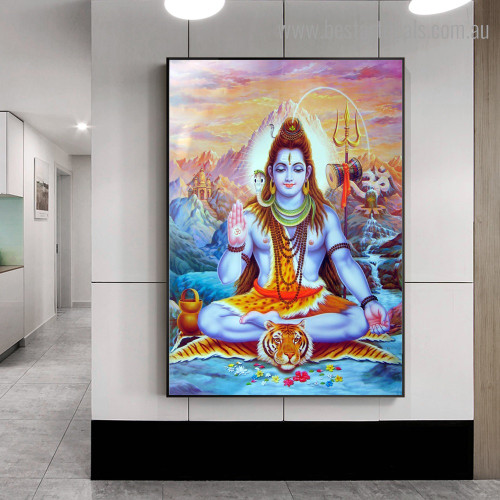 Shiva Lord Religious Modern Framed Artwork Portrait Canvas Print for Room Wall Finery