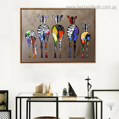 Dapple Zebra Backside Abstract Animal Modern Framed Painting Photo Canvas Print for Room Wall Garniture
