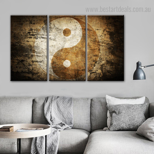 Yin Yang Abstract Modern Framed Split Painting Picture Canvas Print for Room Wall Outfit