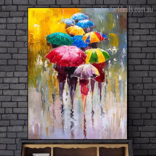 Colorful Umbrellas Abstract Watercolor Framed Artwork Pic Canvas Print for Room Wall Garnish