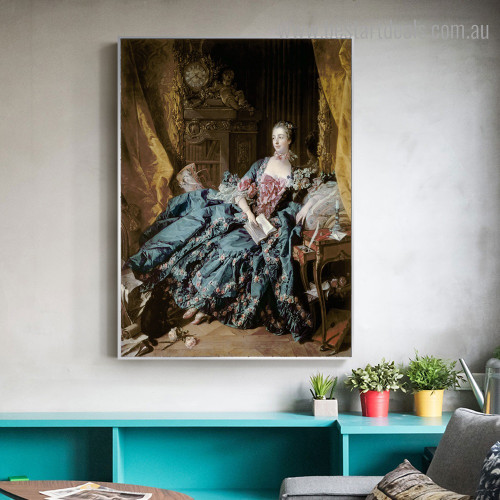 Madame De Pompadour Figure Reproduction Framed Painting Photo Canvas Print for Room Wall Ornament