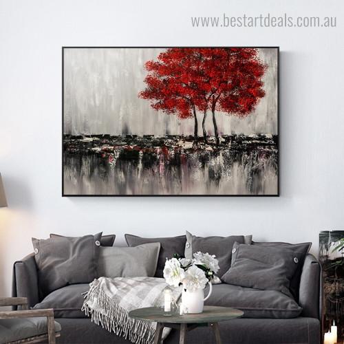 Red Arbors Modern Landscape Framed Artwork Photo Canvas Print for Room Wall Garniture
