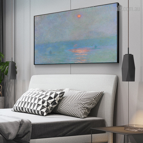 Waterloo Bridge Monet Impressionism Landscape Framed Artwork Portrait Canvas Print for Room Wall Getup