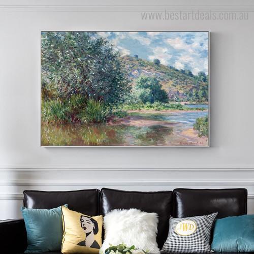 Landscape at Port Villez Monet Impressionism Botanical Framed Artwork Image Canvas Print for Room Wall Getup
