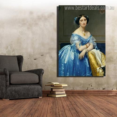 Princesse De Broglie Reproduction Figure Framed Painting Portrait Canvas Print for Room Wall Garnish