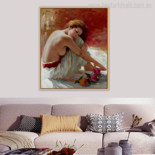 Half Unclad Girl in White Colour Half-Nude Dress Watercolor Painting Print