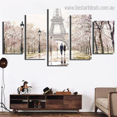 Paris Tower Cityscape Modern Framed Painting Photo Canvas Print for Room Wall Getup