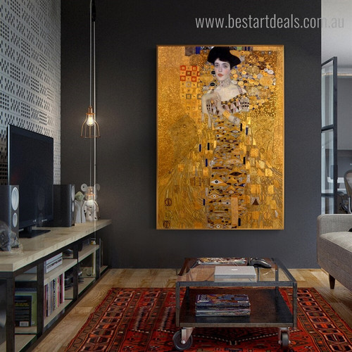Portrait of Adele Gustav Klimt Reproduction Figure Framed Artwork Image Canvas Print for Room Wall Ornament