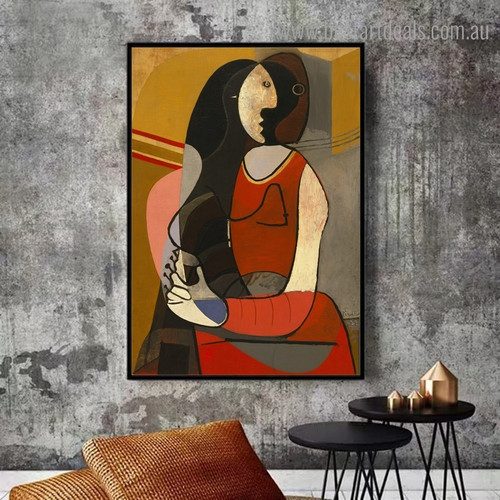 Seated Woman Pablo Picasso  Reproduction Figure Framed Painting Photo Canvas Print for Room Wall Assortment