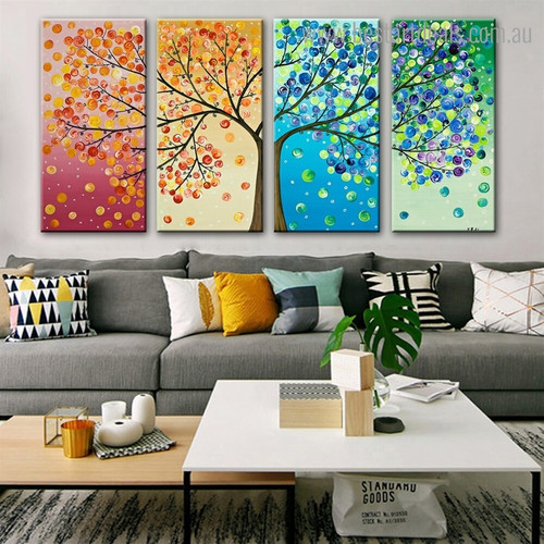 Circular Leaves Abstract Landscape Framed Painting Picture Canvas Print for Room Wall Molding