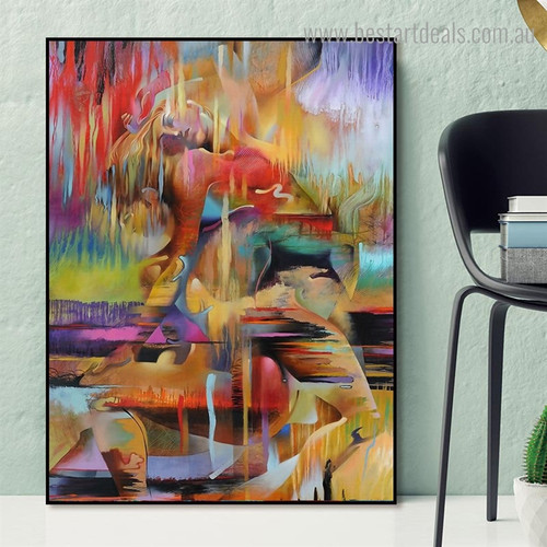 Lovers Cuddling Together Abstract Graffiti Framed Artwork Image Canvas Print for Room Wall Finery