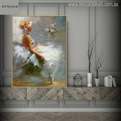 Seat Girl in White Colour Dress Watercolor Painting Print for Wall Hanging