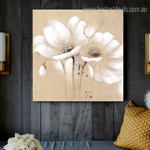 White Poppies Abstract Floral Modern Framed Painting Pic Canvas Print for Room Wall Ornament