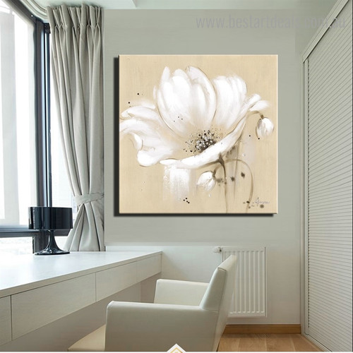 White Poppy Blossoms Abstract Botanical Modern Framed Artwork Image Canvas Print for Room Wall Onlay